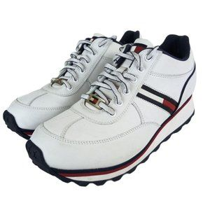 Tommy Hilfiger White Leather Logo Sneakers -N602